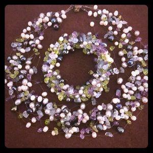Authentic!!! Freshwater pearl & precious stone set